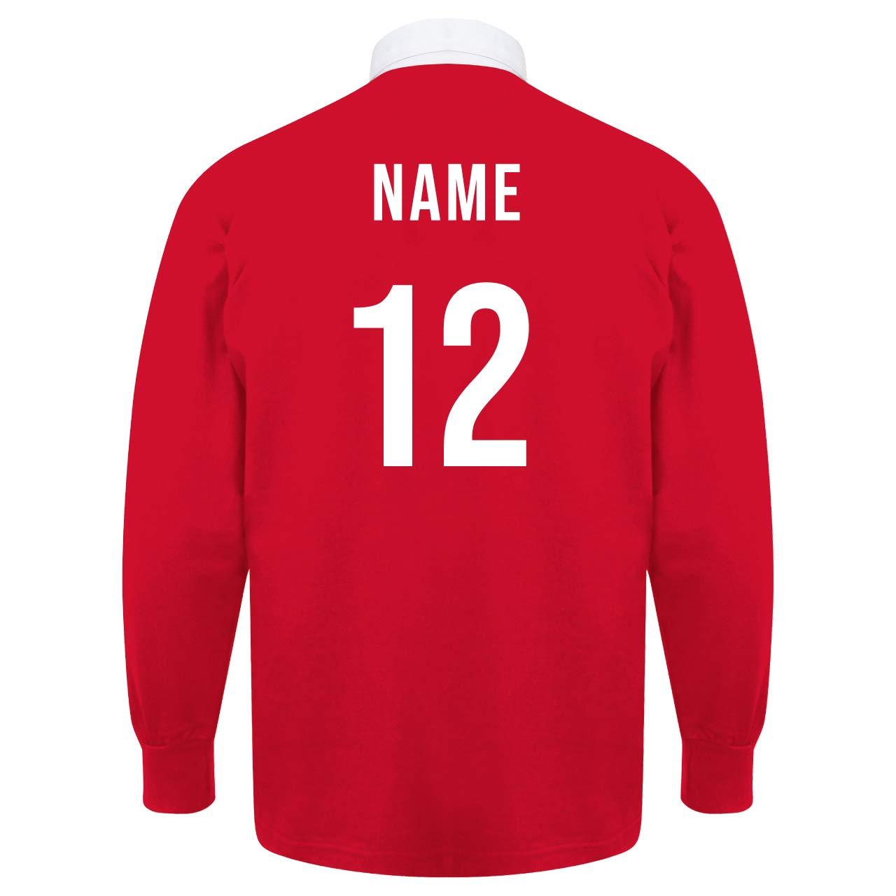 b74b1d959020 Printmeashirt Men s Classic Wales Cymru Crest Long Sleeve Rugby Shirt   Amazon.co.uk  Clothing