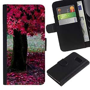 KingStore / Leather Etui en cuir / Samsung Galaxy S6 / Naturaleza ?rbol rosado