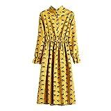 JESPER Women Casual Elastic Waist Stand Neck Floral Velvet Ribbed Vintage Dress Yellow