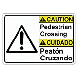 Weatherproof Plastic ANSI Caution Pedestrian Crossing - Peat畁 Cruzando Sign with English & Spanish Text and Symbol