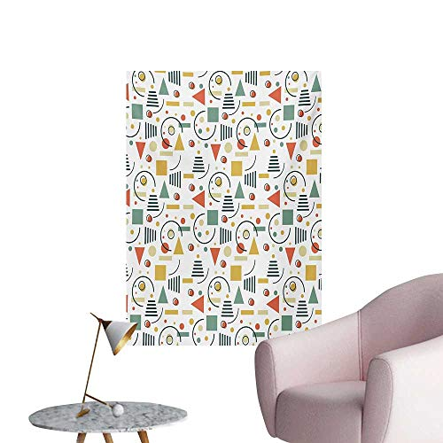 Anzhutwelve Retro Wall Sticker Decals Minimalistic Geometric Composition with Circles Triangles and Lines 80s 90s StyleMulticolor W32 xL36 Art Poster