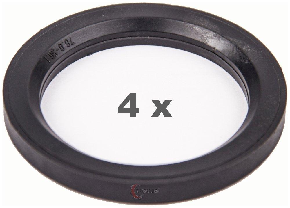 4 X anelli di centraggio 76.0 a 56.1 grigio scuro/grigio scuro. Pneugo