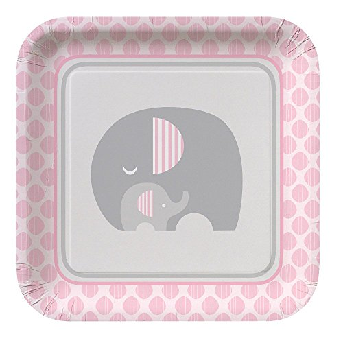 Pink Elephant Girl Baby Shower Supply Pack Bundle Includes Paper