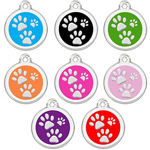 CNATTAGS Stainless Steel Enamel Pet ID Tags Designers Round Paws (Pet Paw Id Tag)