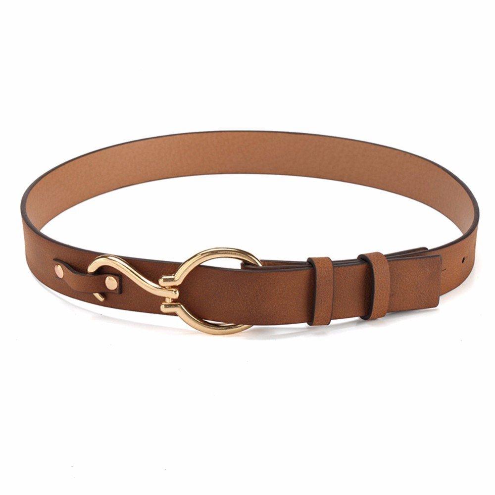 SAIBANGZI Ms Women All Seasons Hooks Belt Fine Decorative Fashion Casual Belt Girlfriend Present Brown 80-90Cm