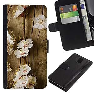 """Samsung Galaxy Note 3 III N9000 N9002 N9005 , la tarjeta de Crédito Slots PU Funda de cuero Monedero caso cubierta de piel ("""" Flowers Spring Tree Blossoming White Nature"""")"""