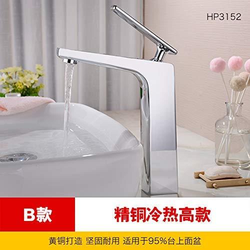 JingJingnet 洗面台の蛇口タップ浴室のシンクの蛇口銅のホットとコールドの表面シンクの洗面台の蛇口洗面台の洗面台の洗面化粧台低めの洗面台のミキサー(高値と安値のホット&コールド) (Color : 2) B07S2P8LDJ 2