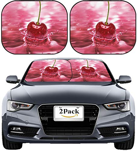 MSD Car Sun Shade Windshield Sunshade Universal Fit 2 Pack, Block Sun Glare, UV and Heat, Protect Car Interior, Image ID: Cherry Drink Splash Close up Background Image 19824874 Stain Resis