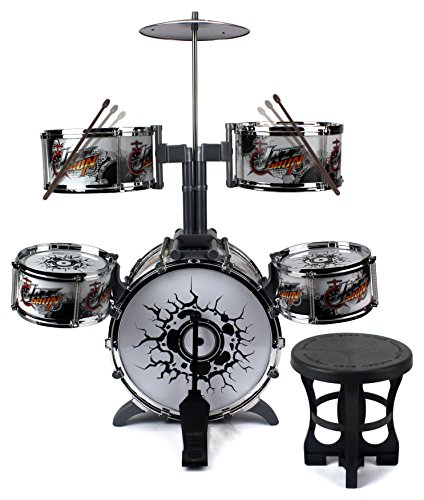 tall-jazz-drummer-childrens-kid-toy-musical-instrument-drum-playset-w-5-drums-cymbal-chair-drumstick