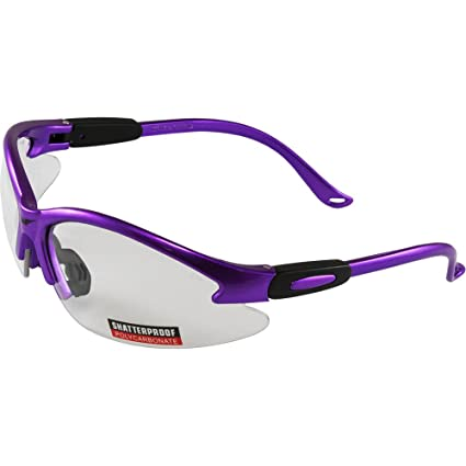 67633071f3 Amazon.com  Global Vision Cougar Purple Frame Safety Glasses Clear ...