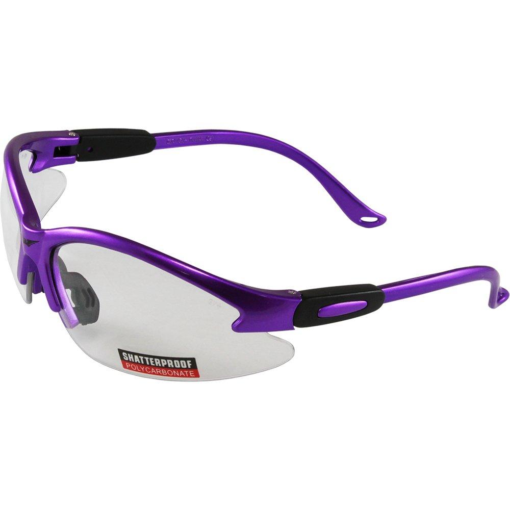 Global Vision Cougar Purple Frame Safety Glasses Clear Lens