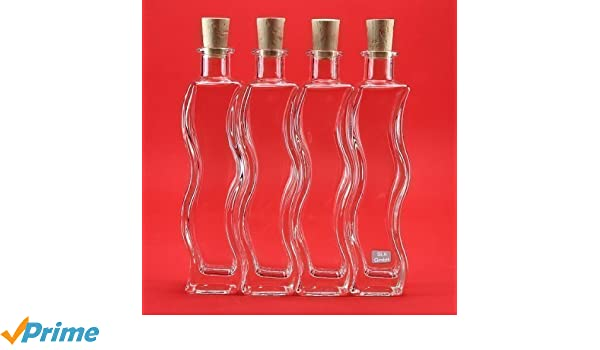 slkfactory 6 x 200 ML Botellas Botellas de Cristal (Onda Botellas de Licor, Botellas de Licor, Botellas de vinagre, Botellas de Aceite, Kleine Botella para ...