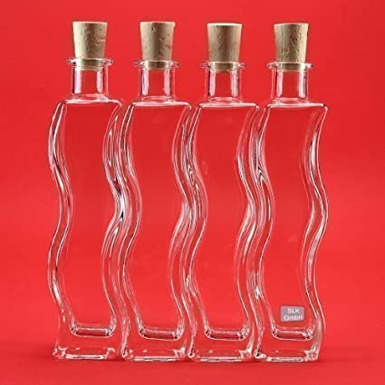 slkfactory 6 x 200 ML Botellas Botellas de Cristal (Onda Botellas de Licor, Botellas