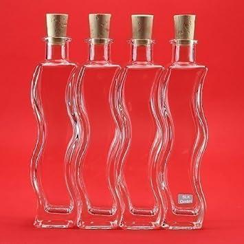slkfactory 6 x 200 ML Botellas Botellas de Cristal (Onda Botellas de Licor, Botellas