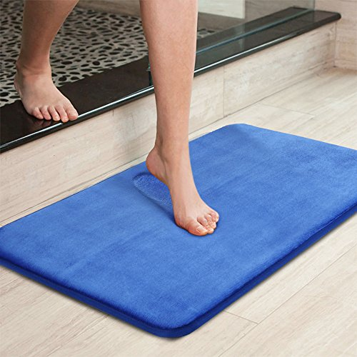 Uphome Memory Foam Bath Rug Anti Slip Royal Blue Plain Ultra Soft and Absorbant Bathroom Shower Mat, Mashable Washable, 16