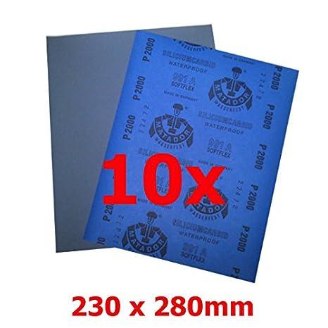 10 x P2000 Nassschleifpapier  Autolack 230x280mm Schleifpapier Matador Qualität