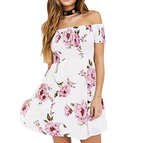 4d70d53279 hot sale Vestidos de Mujer hombro Floral Playa Casual Fiesta Nocturna Mini  Vestido Corto Verano Ropa