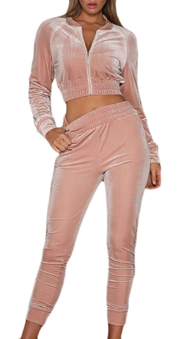 Pink US Small Womens 2 Pieces Tracksuits Sports Velvet Jacket Jogger Pants Outfits