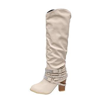 Blockabsatz Winterstiefel Damen,Elecenty Frauen Mit Strass Stiefel Hoch Absatz Stiefeletten Gürtelschnalle Lederstiefel Boots