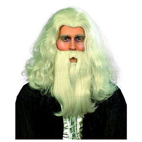 Popcandy Gray Merlin Wizard Wig and Beard Set (Merlin Wig And Beard Set)
