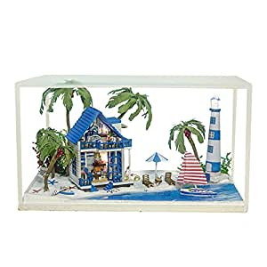 BEAUTY'S CASTLE DIY Meet the Aegean Sea Wooden Dollhouse LED Lights Miniature Assembly Furniture Kit 3D Puzzle Crafts Toy And Wooden Frame For Creative Kid Birthday Gifts