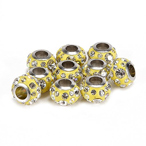 - BRCbeads 10Pcs Silver Plate Yellow Color Rhinestone Murano Lampwork European Glass Crystal Charms Beads Spacers Fit Troll Chamilia Carlo Biagi Zable Snake Chain Bracelets.