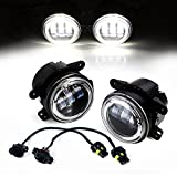 Xprite 4 Inch 60W Cree LED Fog Lights with White Halo Ring DRL for Jeep Wrangler 97-17 JK TJ LJ Off Road Fog Lamps