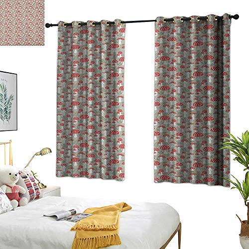 Sage Double Sconce - Warm Family Double Curtain Rod Doodle,Poisonous Amanita Mushroom Pattern with Foliage and Berry Silhouettes, Pale Sage Green Red White 72
