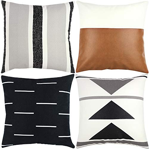 Woven Nook Decorative Throw Pillow Covers ONLY for Couch, Sofa, or Bed Set of 4 18x18 20x20 and 22x22 inch Modern Design 100% Cotton Black White Geometric Faux Leather Zulu Set (20'' x 20'') (Pillow Decorative Covers Cheap)
