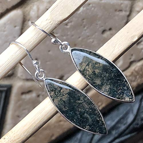 Natural Green Moss Agate 925 Solid Sterling Silver Earrings 40mm Long ()