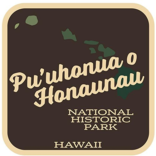 JMM Industries Pu'uhonua O Honaunau National Historic Park Hawaii Vinyl Decal Sticker Retro Vintage Look 2-Pack 4-inches by 4-inches Premium Quality UV Protective Laminate SPS266