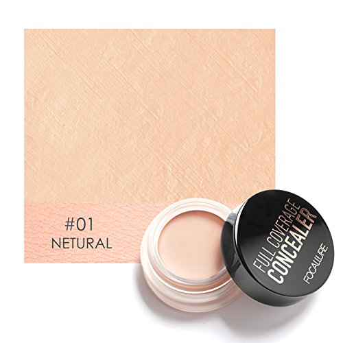 FOCALLURE Full Coverage Concealer Dark Circles Treatment Creamy Spot Acne Correcting Concealer(#1)