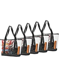 Set Clear Stadium Security Travel & Gym Zippered Tote Bag Sturdy PVC Construction, Black Trim, Full Zipper Top Gusset – Clear Front Pocket – Color Fabric Bottom & Long Handles