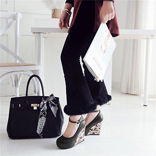 chaussures ALUK mot taille mariage Rose de de de d'entrevue Noir pente femmes épaisse Couleur bouche 3 simples déduction pour chaussures chaussures mariage Chaussures peu avec profonde fw6rqXfxgB