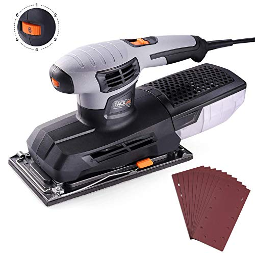 Sheet Sander, Tacklife 1 2 Finishing Sander, 12,000Rpm Variable Speed Palm Sander with 10Pcs Sanding Sheets, High Performance Dust Collector, Hook-and-Loop Base Pad, Aluminum Base Plate