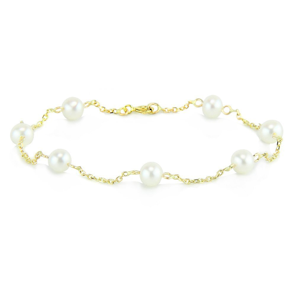 14K Yellow Gold Tin Cup Bracelet With Cultured Freshwater Pearls 7 - 8.5 Inch by amazinite
