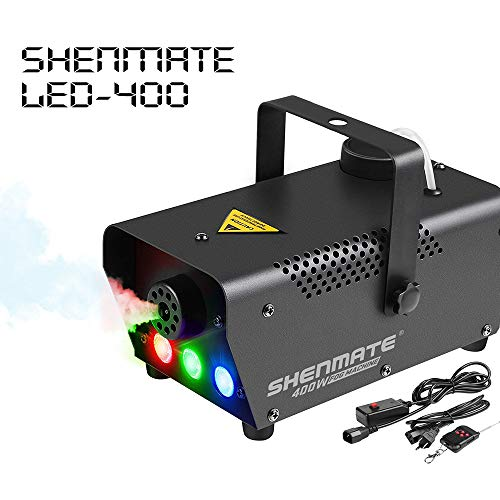 2019 October Newest Upgrade DJ Fog Machine, SHENMATE Professional Portable Smoke Machine with LED Lights, Wired/Remote Control, Fast Heating Fogging Machine for Halloween Night Party Festival