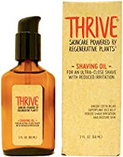 THRIVE Natural Shave Oil for Men, 2 Ounces (60mL) – Replaces Pre-Shave Oils, Shaving Creams, Gels, and Foams – Shaving Oil Made in USA with Organic & Unique Premium Ingredients – Vegan
