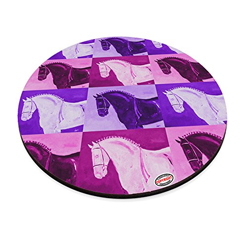(Round Mouse Pad Trivet Hot Plate - Black Percheron Draft Horse Pink Pattern Art by Denise Every)
