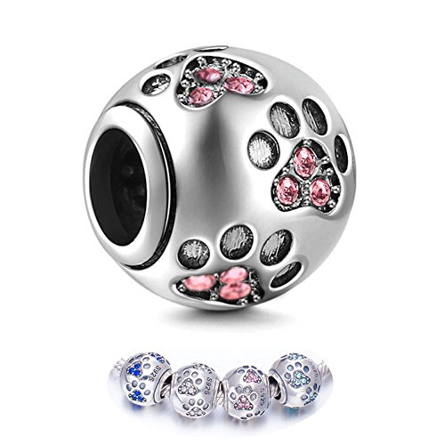 ENJOOOY Sterling Silver Dog Paw Print Charm Beads with Cubic Zirconia Crystals fit Pandora Style Beaded Bracelets for Pet Lovers