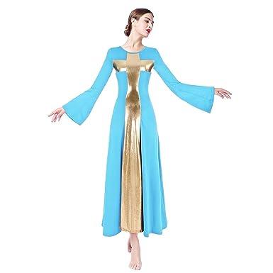 FYMNSI Vestido Largo Litúrgico para Mujer Danza Baile Metálico ...