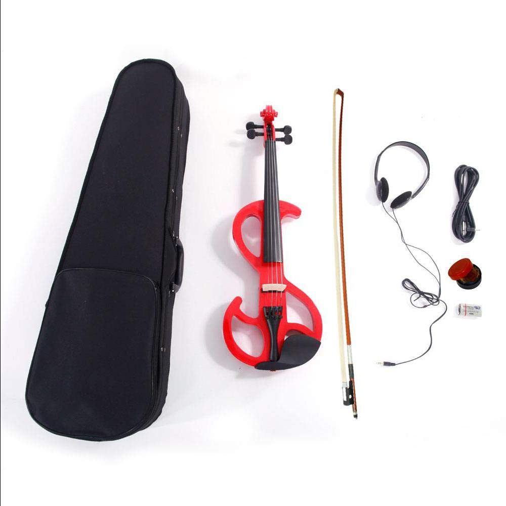 4/4 Red 8 Pattern Electroacoustic Violin - Full Size +Case + Bow + Rosin