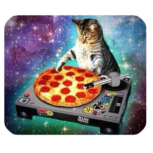 New Top Funny Space Cat and Pizza Rectangle Non-Slip Rubber Mouse Pad Mousepad Mat ()