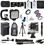 Promax Ultimate Accessories Package for GoPro HERO4 Hero 4 Blue Silver includes 128GB Memory + Battery + Charger + Stabilizer Grip + Video Light +Mono+Tripod+Backpack+Selfie Stick+Case+Cleaning Cloth