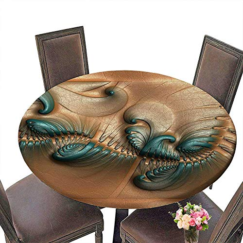 PINAFORE Round Table Tablecloth Tile with Embossed Fractal on Leather for Wedding Restaurant Party 43.5