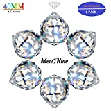 """MerryNine 40mm/1.57"""" Crystal Ball Prism Suncatcher Rainbow Pendants Maker, Hanging Crystals Prisms for Windows,for Feng Shui,for Gift(6pack)"""