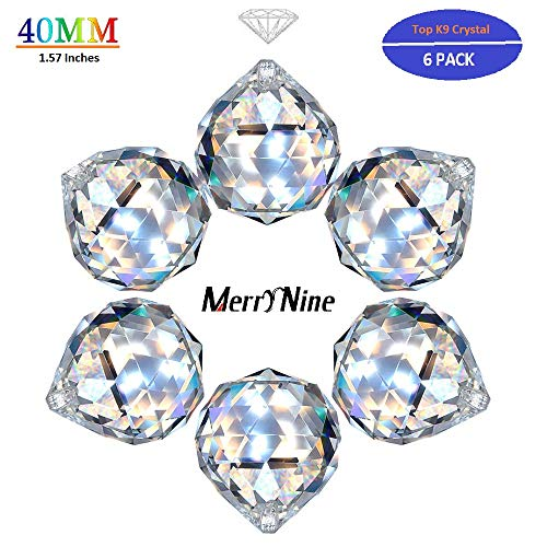 MerryNine Clear Crystal Ball Prism Suncatcher Rainbow Pendants Maker, Hanging Crystals Prisms for Windows, for Feng Shui, for Gift(40mm/1.57