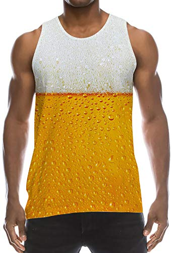 - Boys Ugly Hipster Tank Top Sleeveless Shirt Yellow Orange Gray Beer Bubbles Athletic Fitting Muscular Physique Vest Classic Big and Tall Tees Wife-Beater for Adventure Race Outdoor Sports