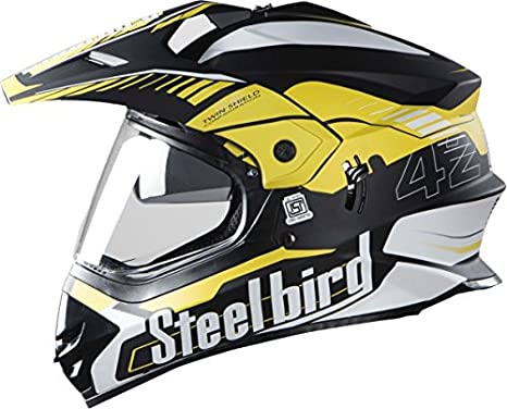 cde865de STEELBIRD SB-42 AIRBORNE MOTOCROSS HELMET GLOSSY FINISH WITH PLAIN VISOR  (LARGE 600 MM