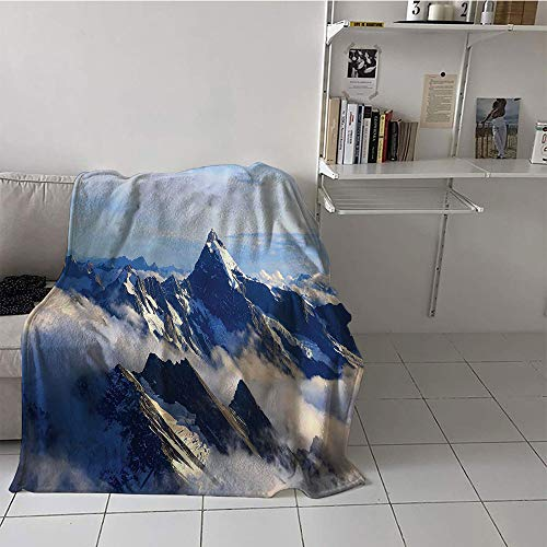 (Children's Blanket Chair Plush Throw Blanket (50 by 70 Inch,Apartment Decor Collection,Landscape of High Majestic Mountains with Cook Peak with Mist Cloud Earth Photo,White Blue Grey)
